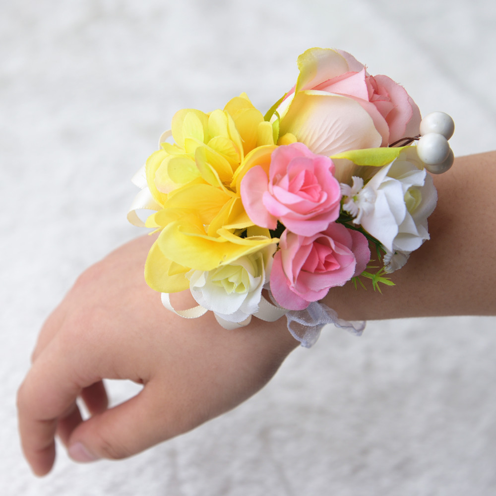Kyunovia 4 styles wedding grooms boutonniere flower buttonhole bride kyunovia 4 styles wedding grooms boutonniere flower buttonhole bride hand flowers prom event bracelet party wrist corsage fe70 in wedding bouquets from izmirmasajfo