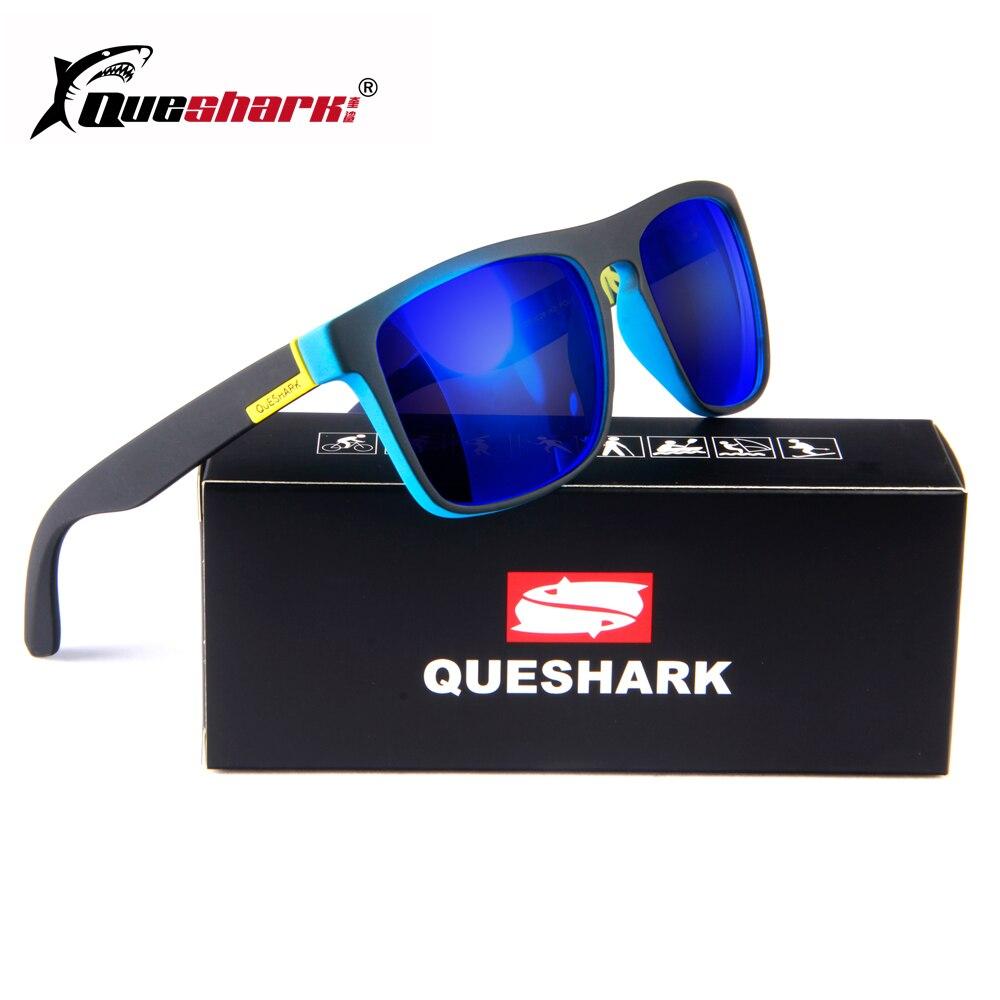 QUESHARK поляризованных солнцезащитных очков Для мужчин кемпинг рыбалка очки Uv400 Защита Велоспорт очки TR90 рамка спортивные Очки для походов ...