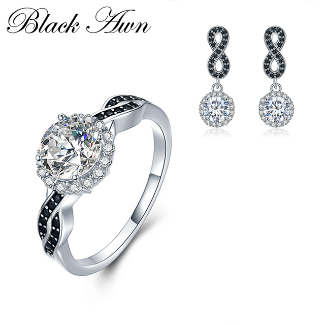 [BLACK AWN] 925 Sterling Silver Fine Jewelry Sets Trendy Engagement  Sets Wedding Ring+Earring for Women TR036