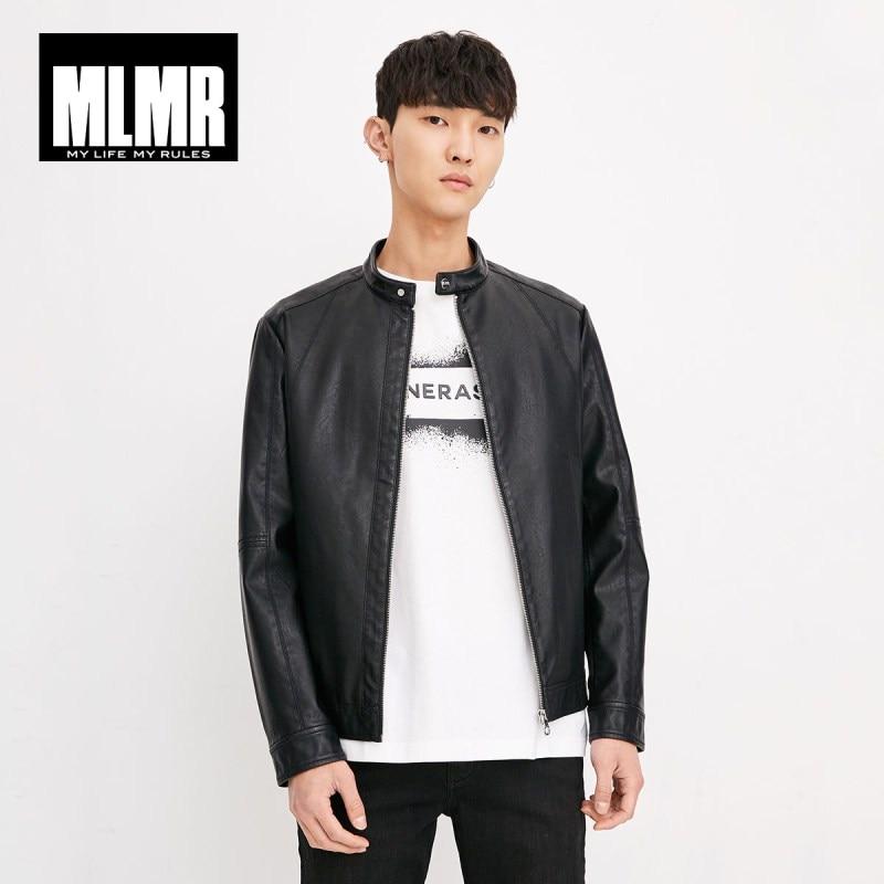 MLMR Men's Autumn Zip-through Front Artificial Leather Biker Jacket M|218321534