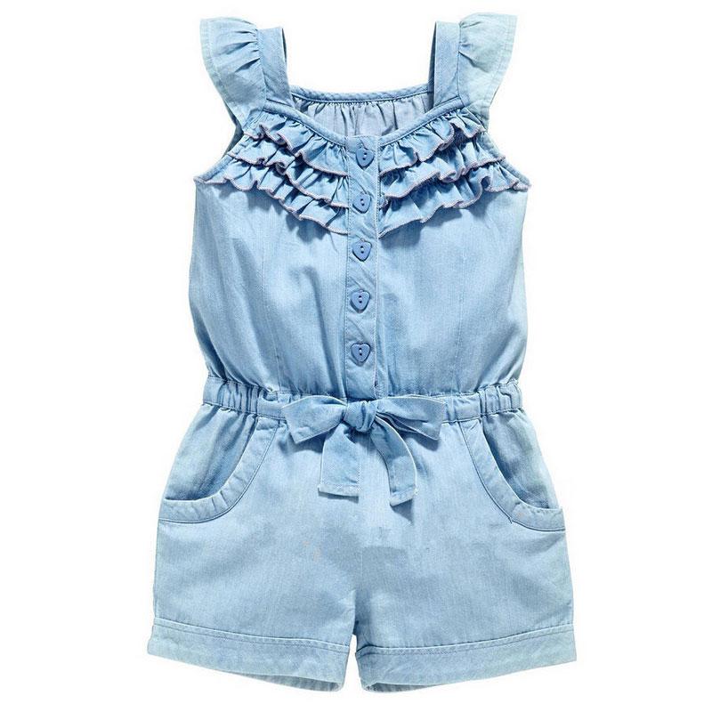 Verão da criança meninas crianças floral geral sem mangas macacão macacão playsuit vestido roupas tamanho 2-6y