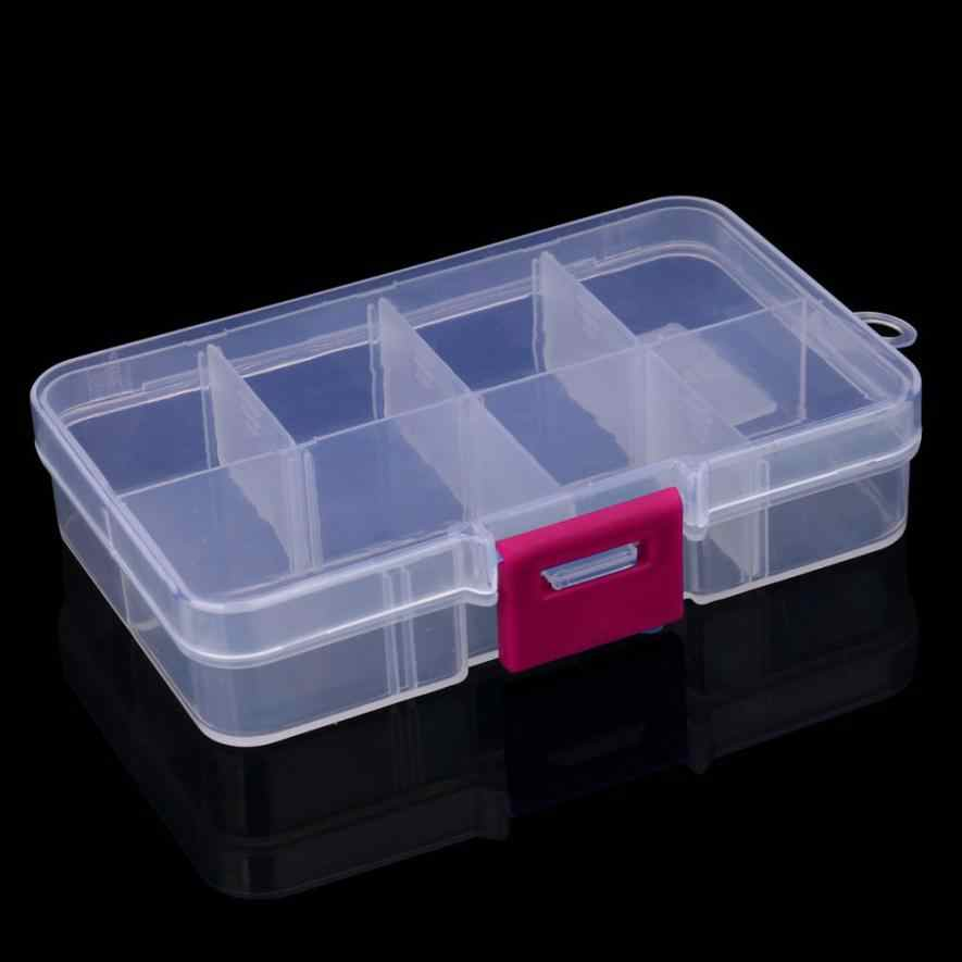 Plastic 8 Grid Compartment Adjustable Jewelry Necklace Transparent Storage Box Case Holder Craft Organizer Container Storage