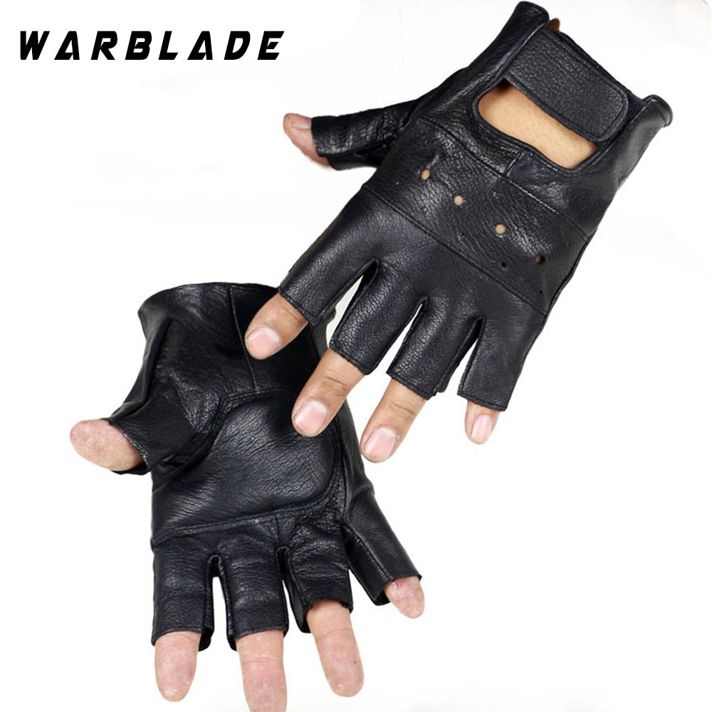 WarBLade Men Genuine Leather Gloves High Quality Slip-resistant Luvas Half Finger Sheep Leather Fingerless Gloves Gants Moto