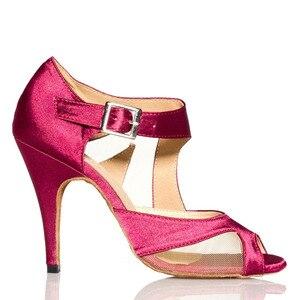 Image 4 - Yeni Marka Kızlar kadın Balo Tango Salsa Latin Dans Ayakkabıları Mor Saten Örgü Bayanlar