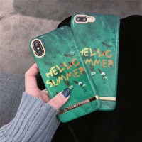 Luxury Emerald Jade Green Marble Patterned Hard Plastic Mobile Phone Cases For IPhoneX 8 8Plus 7