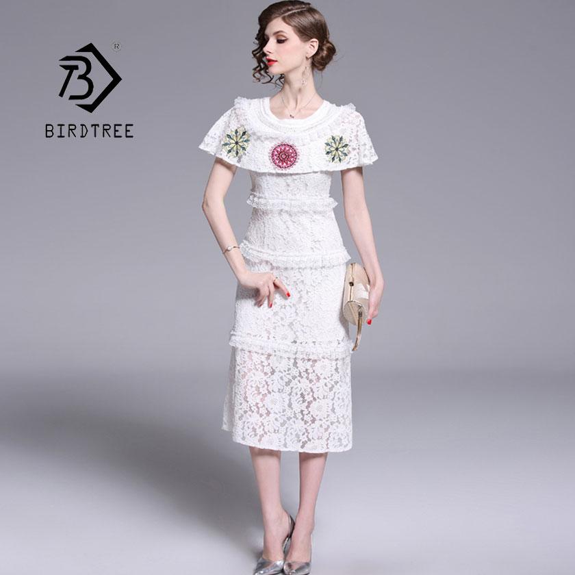 2019 nouveau femmes Patchwork dentelle broderie fleur robe cape O cou mi-mollet taille haute Vestido dame Vintage offre spéciale D94808Z