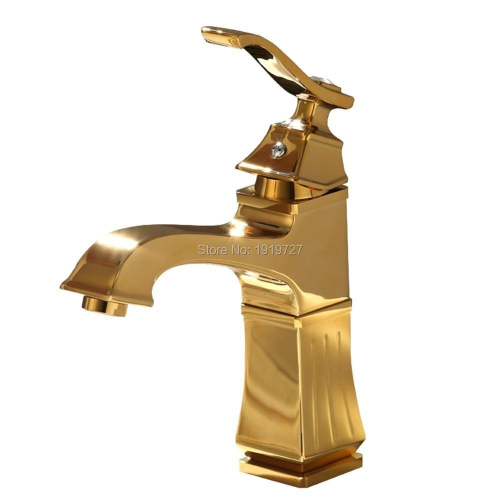 Free Shipping Bathroom Basin Gold Faucet ,Brass with Diamond Unique ...
