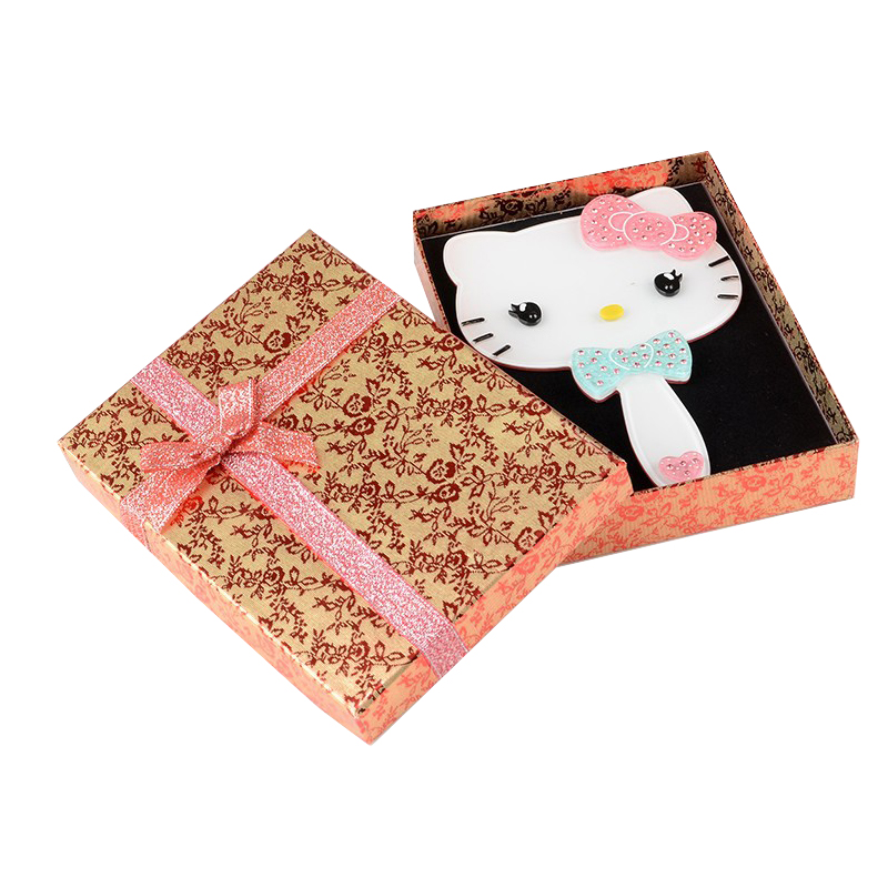 Hello Kitty Rhinestones Portable Creative Cosmetics Handle Mirror portable Women Makeup fashion Mirror A lovely gift