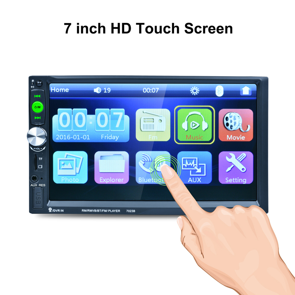 7023B 7 Inch 2 DIN 1080P HD Touch Screen TFT Bluetooth FM/USB/AUX + Rear View Camera Car Radio Video Audio MP4 MP5 Player 7 inch 2din car radio mp5 player mp4 touch screen bluetooth rear camera dvr input stereo steering wheel control fm usb tf aux