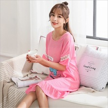 Women Casual Night Dress Sleepwear Cotton o-Neck half Sleeve Nightgown Lounge Female Sleeping print cacti