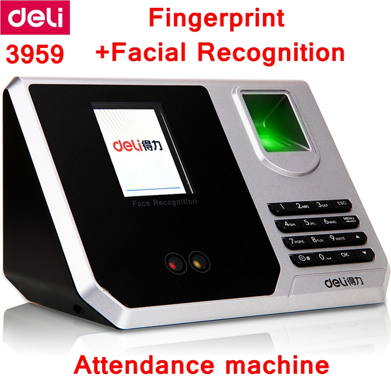 Deli 3959 Fingerprint+ Facial recognition Time recording Attendance machine Multifunctional time machine shipping free