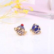 Juicy Grape Mini Asymmetrical Handmade Enamel Glaze Stud Earrings Blue Teapot Teacup Earrings 925 Silver Needle Stud Earrings