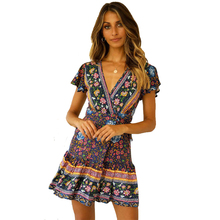 Summer Womens dress Bohemian Beach Vacation Style Short Sleeve Deep V Pleated Print Dress