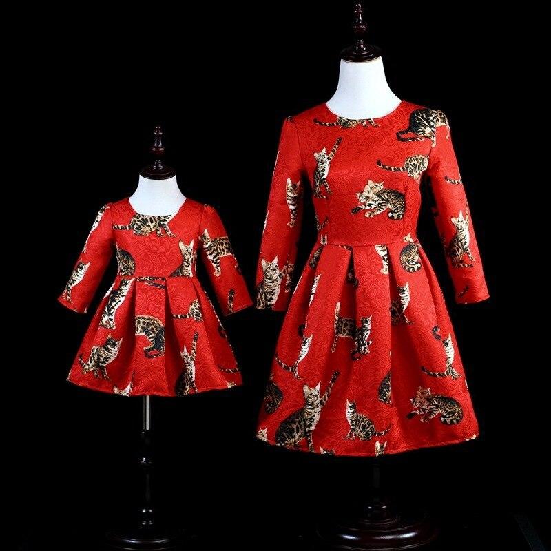 Aiqingsha mère fille robes à manches longues vêtements chat imprimer nouvelle marque maman et fille robe soirée famille correspondant tenues