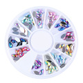 1 Wheel HOT AB 12 Colors Acrylic Oval Rhinestone Nail Art Decorations DIY Manicure Wheel Tips