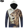 Europe and America hip hop style 3D both side king lion printed hoodies sweatshirts men 's Harajuku hoody Drawstring hoodies