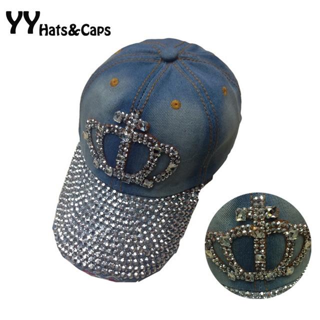 Brillante Jean Snapback para las mujeres Diamante de imitación de moda  Gorras de béisbol Hip hop c6de50b3aa59