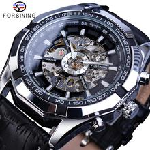 Forsining Brand Mechanical Watch Men Skeleton Steampunk Hand Wind Movement Black Genuine Leather Wrist Watches Reloj Hombre 2019 стоимость
