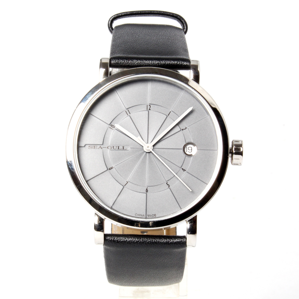 Genuine Leather Band Penrose Stairs Pattern Grey Dial Seagull 3 Hands Automatic Men's Watch Sea-gull 819.43.5006