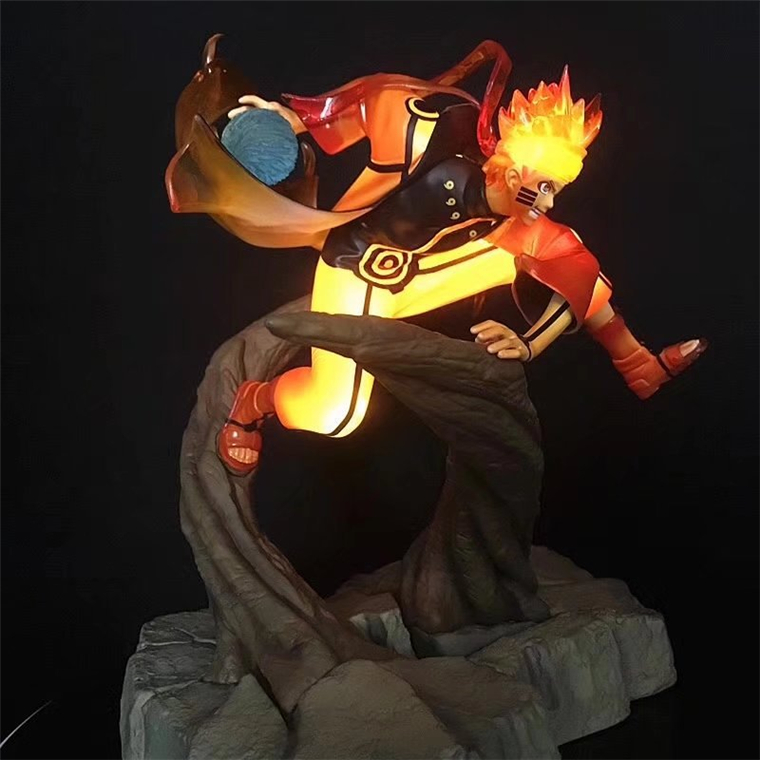 25cm Anime figure Uzumaki Naruto celestial Nine tails mode PVC action figure flash led light collection toy figurine
