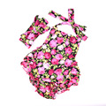 Fashion roses baby rompers +Headband 2pcs baby boutique clothes newborn baby girls clothes vintage floral girls jumpsuit
