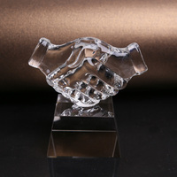 Quartz Crystal Shaking Hands Model Sculpture Mineral Stoneware Craft Ornament Accessories for Business Gift and Office Decor
