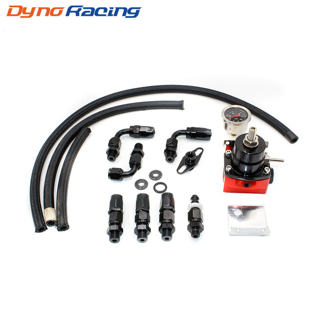 US $30 0 |Universal Adjustable Fuel Pressure Regulator Kit Oil 0 100psi  Gauge Universal Black/Red 6AN Fit Oil cooler kit YC101012-in Fuel Supply &