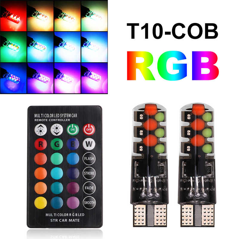 T10 RGB LED Lights W5W 194 Led Clearance light for Car T10 RGB COB 12SMD Colorful Lamp With Remote Controller T10 COB LED Bulbs