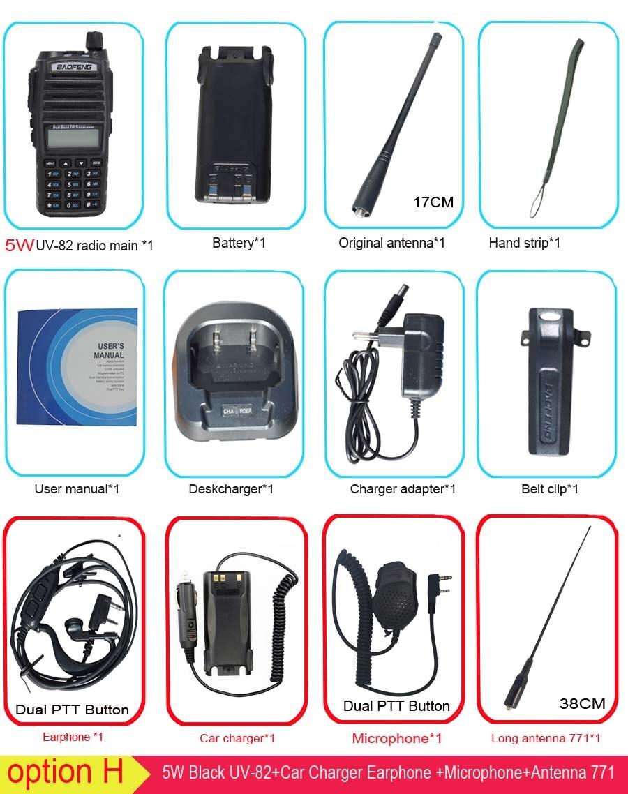 Популярная портативная рация, Baofeng, UV-82, две кнопки PTT, двухстороннее радио Vhf Uhf, двухдиапазонное Baofeng UV 82 UV82, двухстороннее радио - Цвет: option H