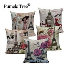 Vintage fundas decorativas para cojines London Paris flor Rosa funda de almohada para sofá personalización del hogar fundas para coche cojines