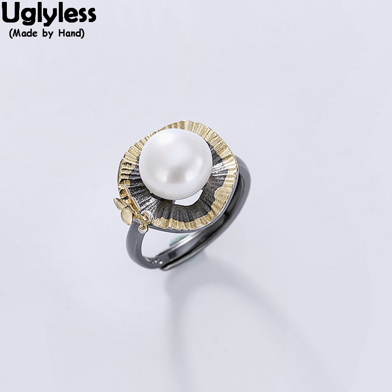 Uglyless Real 925 Sterling Silver Handmade Flower Rings For Women Nature Pearl Open Finger Ring Anti-allergic Black Gold Jewelry
