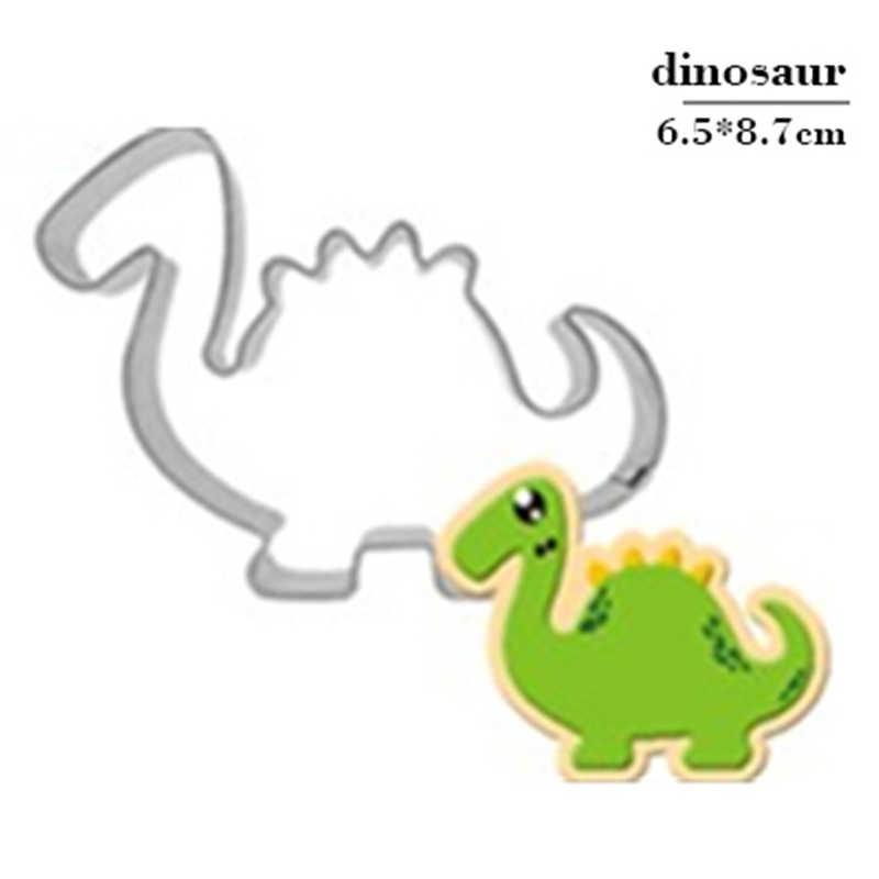ใหม่สแตนเลสสตีลบิสกิตแม่พิมพ์ไดโนเสาร์รูปร่าง Fondant เค้กแม่พิมพ์ DIY หัตถกรรมน้ำตาล Jurassic 3D Pastry Cookie Cutters เค้กเครื่องมือ