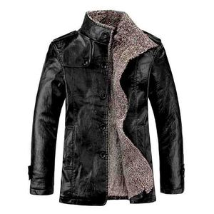 Image 5 - 2019 Plus Size 7xl 8xl Winter New Mens  Velvet Leather Jacket Stand Collar PU Leather Coat Male Loose Brand Clothing