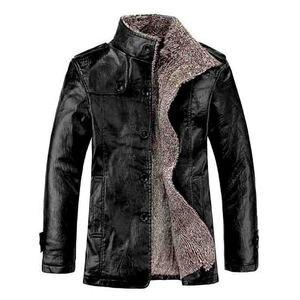 Image 5 - 2019 plus size 7xl 8xl inverno nova jaqueta de couro de veludo dos homens gola casaco de couro do plutônio masculino solto marca roupas