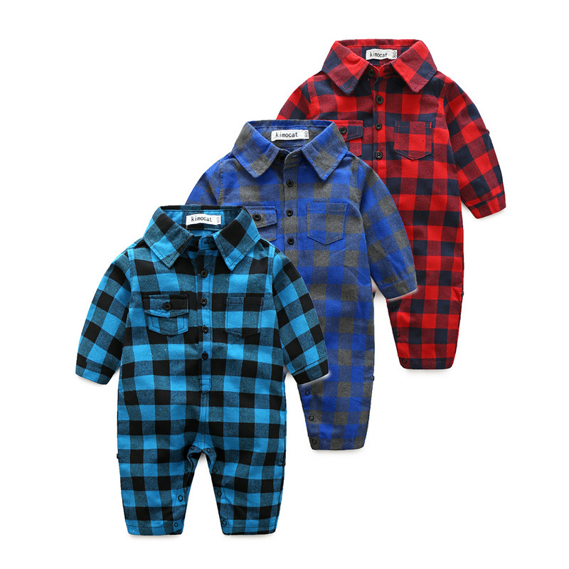 2018 Autumn baby boys plaid long sleeve rompers cute infant cotton jumpers children climbing clothes gentleman wear 17N1103