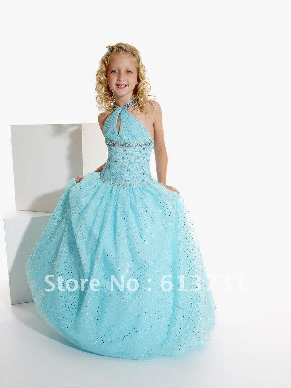 2013 New Arrival Kids Evening Gowns Halter Blue Sequins Backless ...