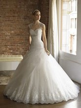 A-100 Free Shipping Tulle A-line Cap Sleeve Lace Flirty Wedding Dress 2012