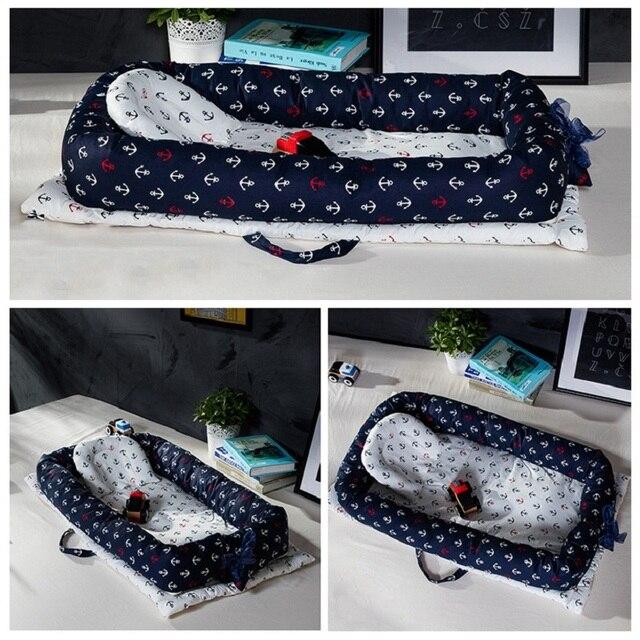 Bebé nido cama cuna portátil extraíble y lavable bebé cuna cama de viaje para niños infantil chico algodón cuna para bebé recién nacido parachoques