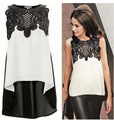 2016 fashion Women blouses chiffon tops lace clothing sleeveless blouse off white shirt Women plus size s-2XL Summer style  LY06