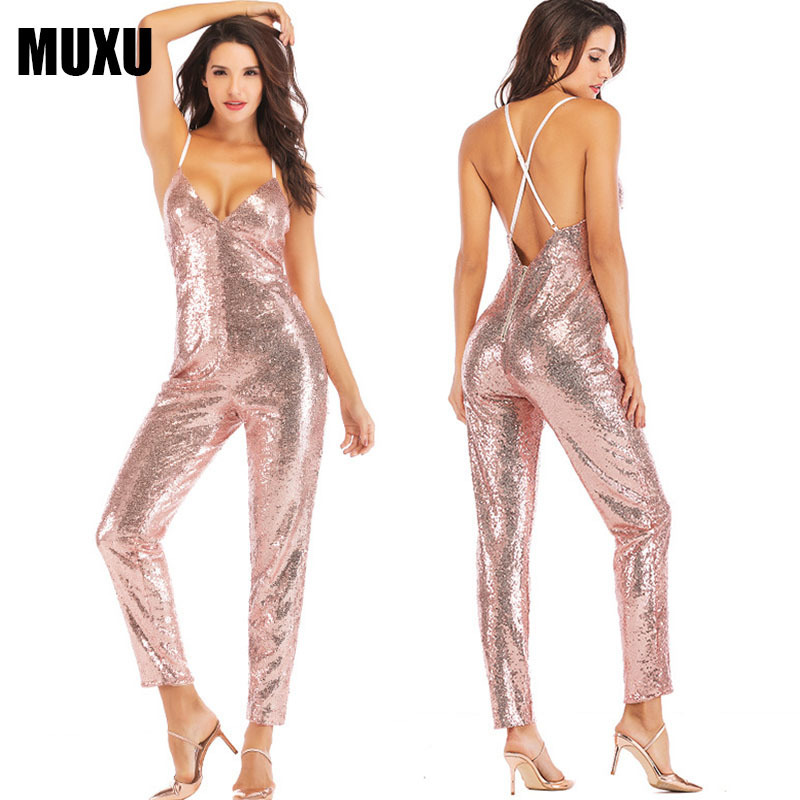 8f125f78a55 glitter pink sequin suspender backless one piece jumpsuit body mujer sexy v  neck mono mujer largo elegante body suit plus size -in Jumpsuits from  Women s ...