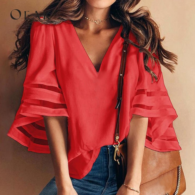 OEAK 3XL V-Neck Flare Sleeve Patchwork Shirts Summer Casual Loose Plus Size Women Chiffon Blouses Female Top vetement femme 2019 Chemisier