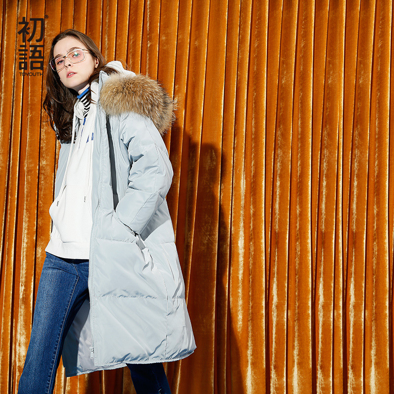 Toyouth   Down     Coat   2019 Winter Women Casual Straight Fur Collar Thicken White Duck Long   Down   Jacket Overcoat