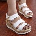 Бесплатная доставка 2015 женщин кожаные сандалии клинья женские сандалии платформы Моды сандалии женщин женщины горячие продажа обуви 068