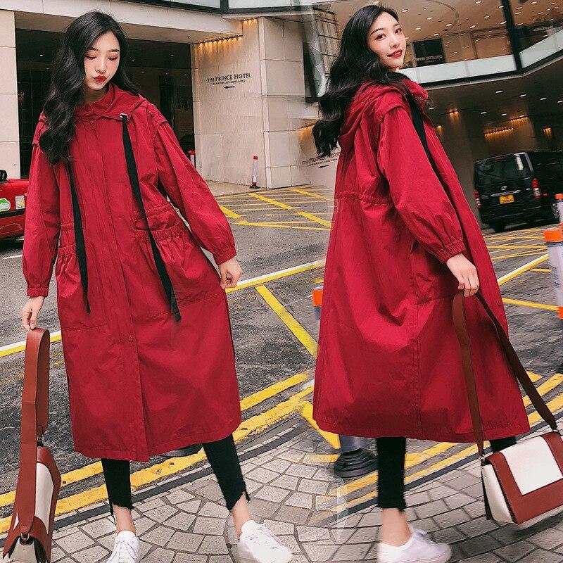 Spring And Autumn preganent Women's Leisure Zipper   Trench   Streetwear Coat Female Red Loose Coat Oversize Windbreaker Female