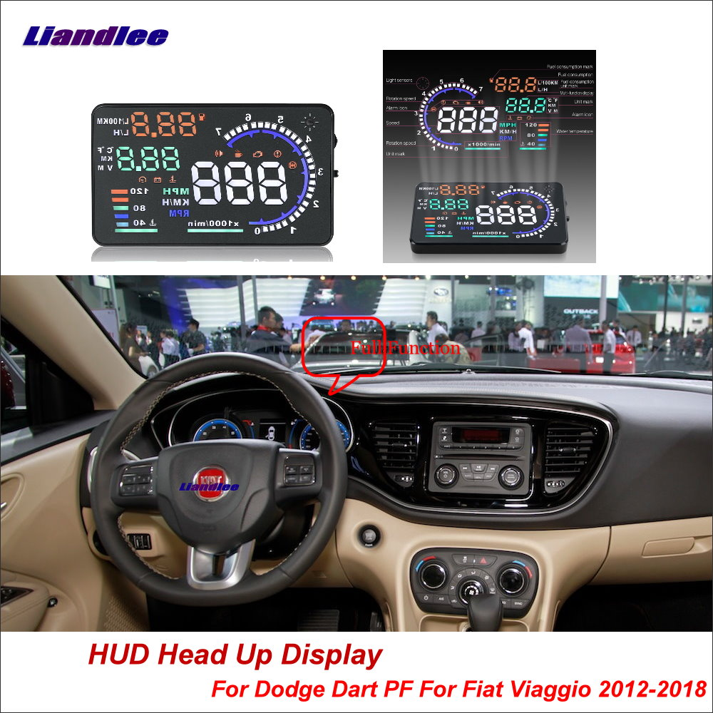 Liandlee Car Head Up Display HUD For Dodge Dart PF Fiat Viaggio 2012-2018 HD Projector Screen Overspeed Alert Alarm Detector