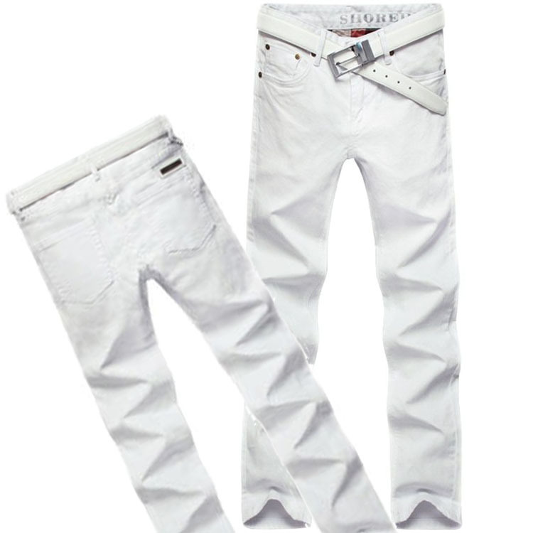 2015 New fashion stretch men s jeans famous brand white slim jeans men high quality casual