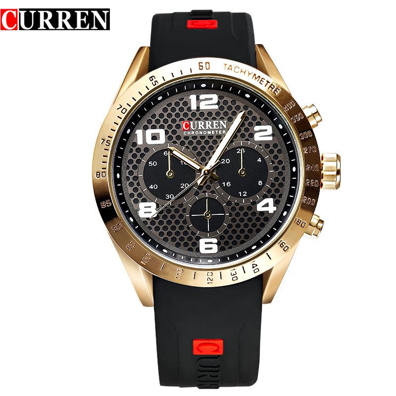 Prix pour Curren Marque De Luxe Hommes Sport Montres Silicone Hommes Quartz Militaire de L'armée Montres Hommes Horloge Casual Relogio Masculino, W8167