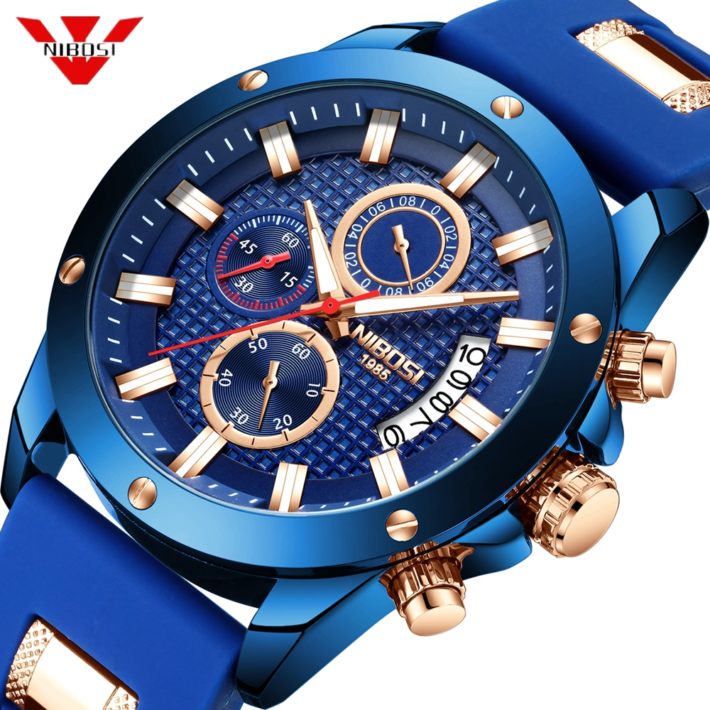 NIBOSI Sport Watch Men Quartz Zegarek Meski Analog Date Clock Man Silicone Military Waterproof Male Watch 2019 Relogio Masculino