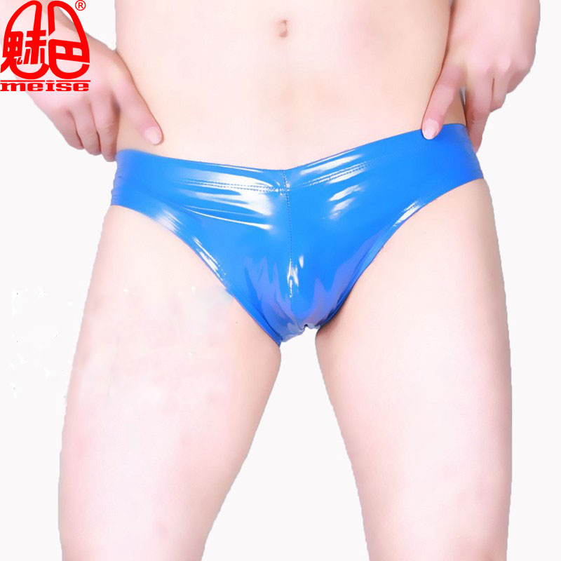 Buy Sexy Men PVC Shiny Underwear U Convex Pouch Briefs G-string Smooth Thongs Low Rise Faux Leather Underwear Gay Wear F26