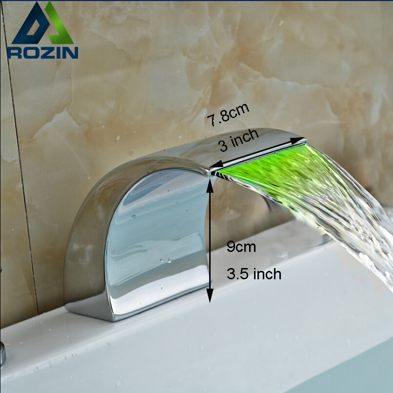 Deck Mount Chrome Waterfall LED Light Bathtub Spout Bathroom Faucet Spout Deck Mounted WF33